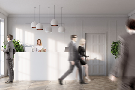 People near a white reception counter standing in an office with white walls, wooden floor, potted trees and a door. 3d rendering mock up