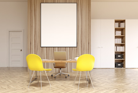 ceo: White and wooden office interior with a bookcase, a closet, a door, a round table with brown chairs and a vertical framed poster on a wall. 3d rendering mock up
