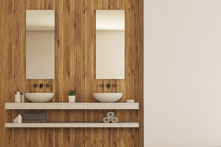 of them: Wooden bathroom interior with a marble shelf with two sinks on it and mirrors. There is a potted plant between them. 3d rendering