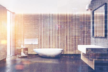 Hölzerner Badezimmerinnenraum mit einer weißen Wanne, einem Quadratwaschbecken, einem Spiegel über ihm, einem schwarzen Tisch und einer Nische in einer Wand. Spott der Wiedergabe 3d herauf tonte Bilddoppelbelichtung Standard-Bild - 82057032