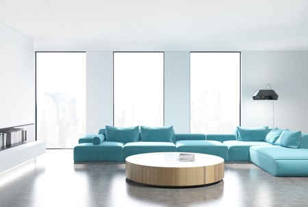 living wisdom: White living room interior with loft windows, a bookshelf and comfortable blue sofas standing near a round table. Front view. 3d rendering mock up