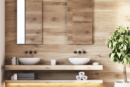 Wooden bathroom interior with twor sinks standing on a wooden shelf, two mirrors and a tree in a pot. 3d rendering mock up