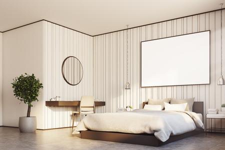 Intérieur de chambre beige avec un grand lit, une affiche horizontale suspendue au-dessus, une table de maquillage avec un miroir rond suspendu au-dessus et un arbre dans un pot. Coin. Rendu 3d maquette Banque d'images - 82057328