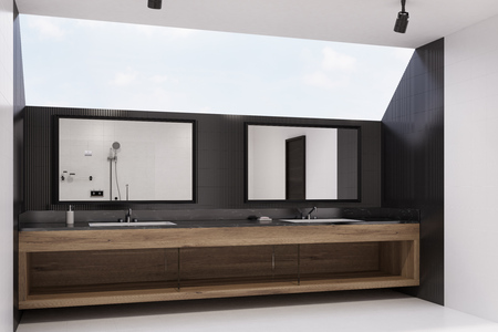 of them: Black tiled bathroom interior with wooden cabinets, two built in sinks with horizontal mirrors above them. Side view. 3d rendering mock up