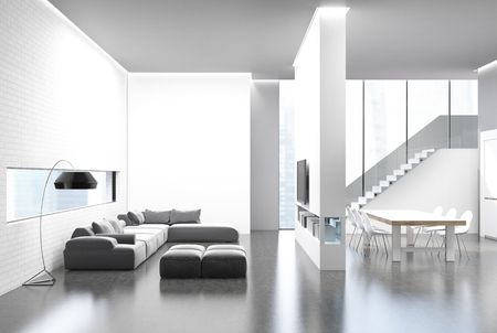 kitchen cabinets: Kitchen and a living room interior with a long table, a white brick wall, gray sofas and a TV set. Panoramic windows. 3d rendering mock up