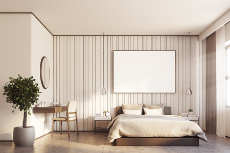 Beige bedroom interior with a large bed, a horizontal poster hanging above it, a makeup table with a round mirror hanging above it and a tree in a pot. 3d rendering mock up