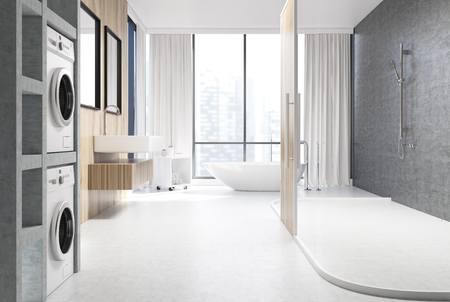 sinks: White and wooden bathroom interior with two cylindrical sinks, a white tub standing near a panoramic window, washing machines and a shower with a wooden door. 3d rendering mock up