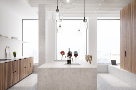 kitchen range: Marble bar in a white kitchen with wooden cabinets, shelves with glasses and three tall windows. Close up. 3d rendering mock up