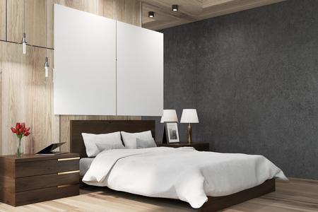 Intérieur de chambre à coucher noir et en bois avec un grand lit, deux affiches verticales suspendues au-dessus et deux tables de chevet. Vue de côté. Maquette 3D Banque d'images - 82057116