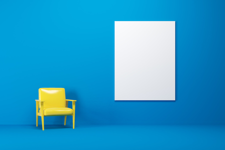 Bright yellow armchair is standing in a blue room. A vertical blank poster on a wall. 3d rendering mock up Foto de archivo
