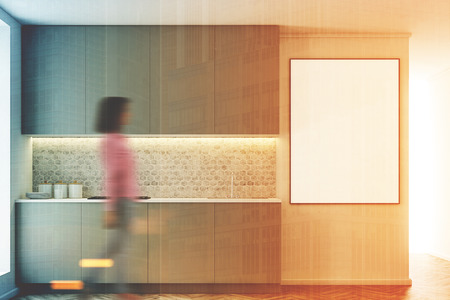 appliances: Gray kitchen interior with a row of countertops. A framed vertical poster on a wall. Girl. 3d rendering mock up toned image double exposure Stock Photo