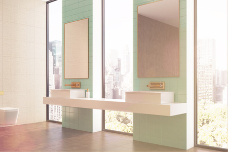 chrome: Green bathroom interior with tall windows, a double marble sink and two doors one in front of another. Side view. 3d rendering toned image