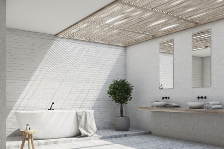 Brick bathroom interior with a tub, a double sink, a tree in a pot and two mirrors on the wall. Corner. 3d rendering mock up Stock Photo