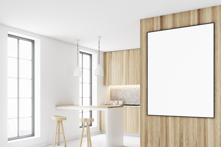 appliances: Wooden kitchen interior with a bar like table, two stools near it and a row of countertops. A framed vertical poster on a wall. Side view. 3d rendering mock up
