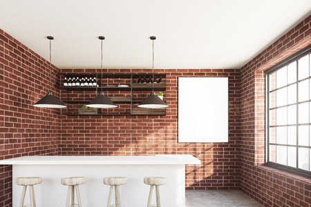 Brick wall cafe with a white bar stand, a row of stools, a vertical poster hanging near a wooden shelf and three ceiling lamps. 3d rendering mock up Stock Photo