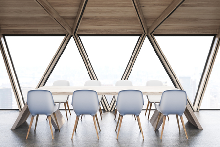 ceiling: Attic conference room interior with a long wooden table, rows of white chairs near it. Wooden ceiling. Close up. Side view. 3d rendering mock up