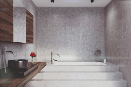 chrome: Concrete bathroom interior with a panoramic window, a marble floor, wooden decoration elements, a sink and a tub. Front view. 3d rendering mock up toned image Stock Photo