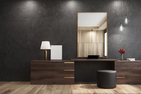Schwarzes Wohnzimmerinnenraum mit einem großen Spiegel, der über einem hölzernen Wandschrank mit einem runden Hocker hängt, der nahe ihm steht. 3D-Rendering mock-up Standard-Bild - 82749436