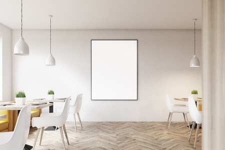 white cafe interior with wooden floor square marble tables white chairs and a framed - Marble Cafe Decoration