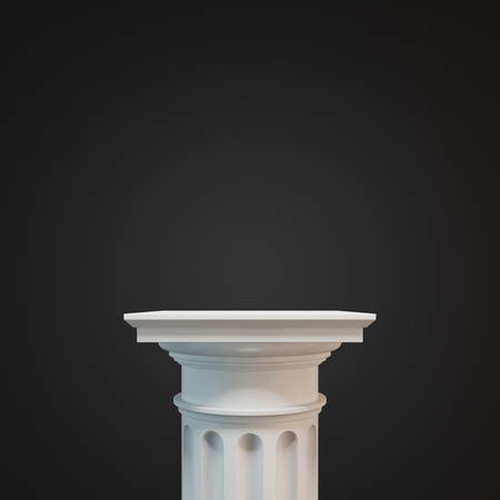 White classic column against a black background. Concept of classicism and decoration trends. 3d rendering mock up