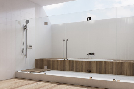 White Tiled Bathroom Interior With Wooden Cabinets A Built In