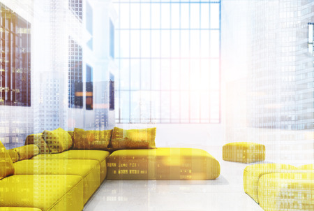 Office waiting area with a panoramic window, yellow sofas and pouffes and a white wall with windows in it. 3d rendering mock up toned image double exposure