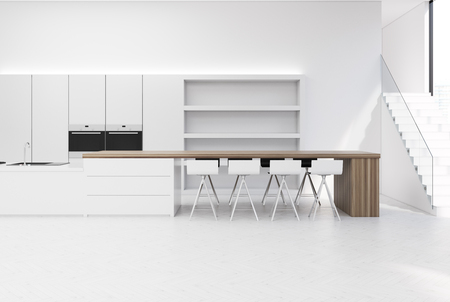 appliances: White kitchen interior with a countertop and a wooden bar stand, a large cupboard and a staircase on the right. 3d rendering mock up