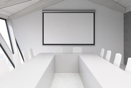 ceiling: Attic conference room interior with a long wooden table, rows of white chairs near it and glass doors. White ceiling. Close up. Framed poster 3d rendering mock up