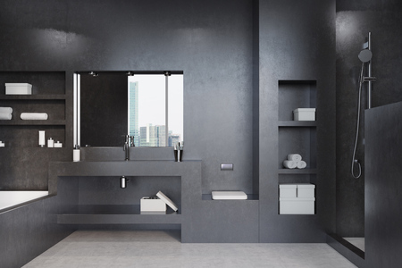 real estate house: Black bathroom interior with a tub, a shower, a shelf, a mirror and a closet. Marble floor, modern design. Concept of a cozy home. 3d rendering mock up Stock Photo