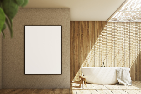 Wooden And Beige Bathroom Interior With A White Tub, A Small.. Stock ...
