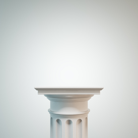 classicism: White classic column against a white background. Concept of classicism and decoration trends. 3d rendering mock up