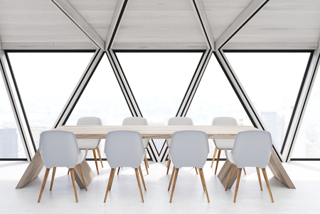 ceiling: Attic conference room interior with a long wooden table, rows of white chairs near it. White ceiling. Close up. Side view. 3d rendering mock up