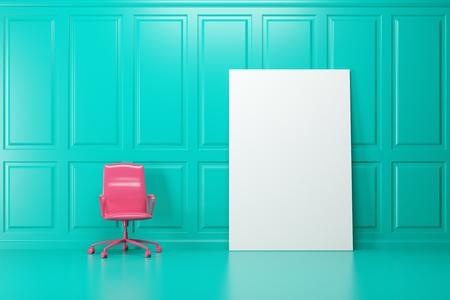 Sedie Da Ufficio Rosa.La Sedia Da Ufficio Rosa Brillante E In Piedi In Una Stanza Color Smeraldo Un Poster Vuoto Verticale Su Un Muro 3d Rendering Mock Up