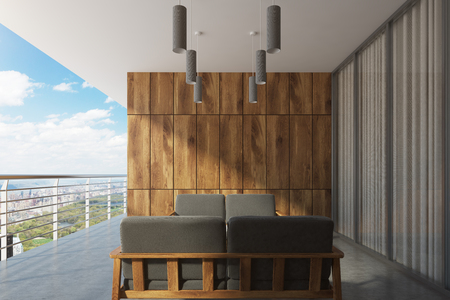 overlook: Wooden balcony with a panoramic window, gray