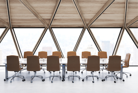 View of a conference room table with beige chairs standing near, panoramic windows and white and glass walls. Side view. 3d rendering mock up