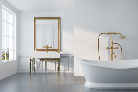 Vintage bathroom interior with a white bathtub, a gold shower, a sink and a white wall. Concept of luxury and wealth. 3d rendering mock up