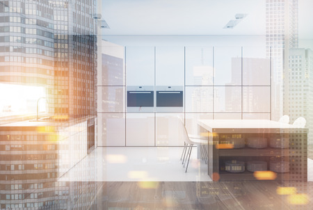 kitchen range: White kitchen interior with a narrow window, a table with built in shelves, a row of counter tops and two ovens. Dark wood. 3d rendering mock up toned image double exposure