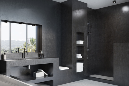 Black Bathroom Interior With A White Tub Massive Sink An Orange Tap