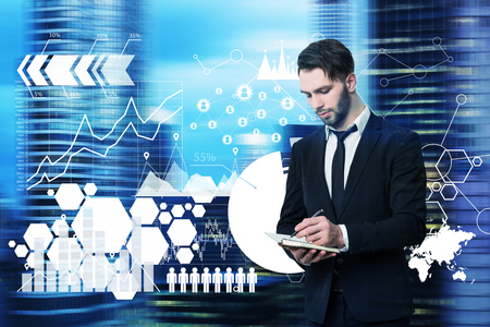 Bearded man with a planner is standing against a blurred cityscape with shining polygons in front of him. Toned image double exposure mock up. Elements of this image furnished by NASA Stock Photo