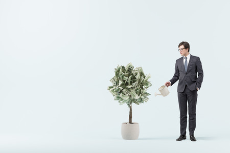 Businessman in a suit with a blue tie watering a small dollar tree. Blue room background. Concept of investment. Mock up toned image