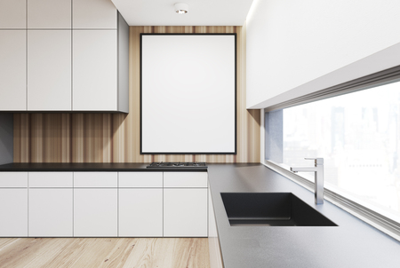 kitchen cabinets: White and wooden kitchen interior with a row of countertops and a sink. A framed vertical poster on a wall. 3d rendering mock up