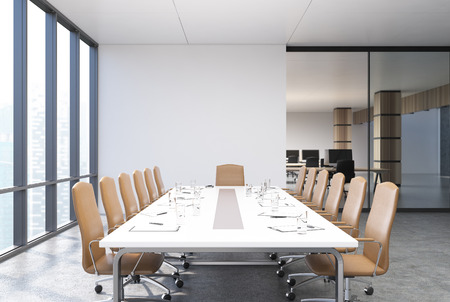 View of a conference room table with beige chairs standing near, panoramic windows and white and glass walls. 3d rendering mock up Stock Photo