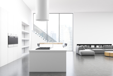 countertop: White kitchen interior with a countertop and a wooden bar stand, a large cupboard and a staircase on the right. Corner. 3d rendering mock up
