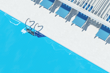 Top View Of A Swimming Pool With Ladder White Floor Blue Deck Chairs