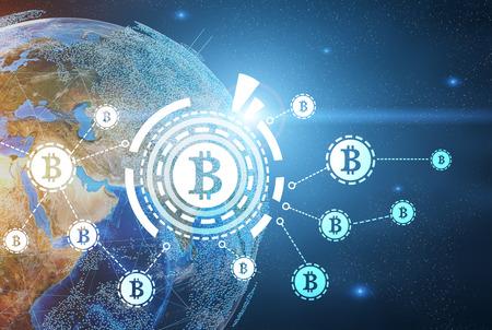 Gran holograma de red bitcoin brillante en el aire. Fondo de espacio abierto con la Tierra. Exposición doble de imagen tonificada.