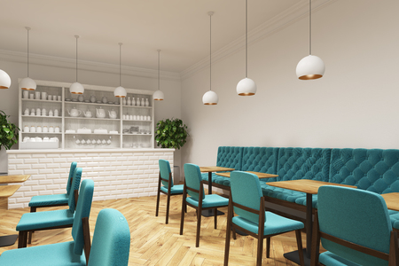 old fashioned: Coffee shop interior with blue chairs standing near square wooden tables and a white bar like counter. There is a white cupboard with cups and teapots. Side view. 3d rendering mock up Stock Photo