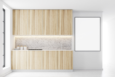 kitchen range: Wooden kitchen interior with a row of countertops. A framed vertical poster on a wall. 3d rendering mock up