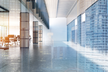 Concrete loft office lobby with a gray floor, white walls and wooden columns and rows of computer tables. 3d rendering mock up toned image double exposure Stock Photo