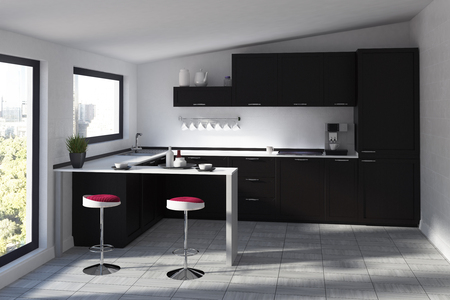 kitchen range: Futuristic kitchen interior with a black bar stand, two round stools standing near it, windows with a black frames, countertops and cupboards. 3d rendering mock up