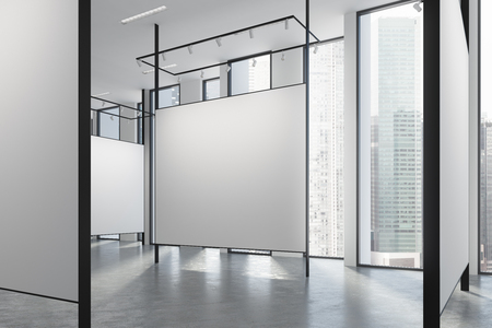showpiece: Loft art gallery with blank walls with special lightning, a magnificent cityscapes with skyscrapers white ceiling and a concrete floor. 3d rendering mock up